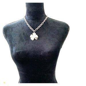 bebe SilverChain Necklace w/Jeweled 4 Leaf Clover